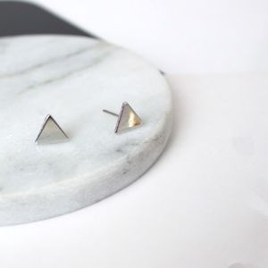 PREVIEW Dainty Silver Triangle Stud Earrings